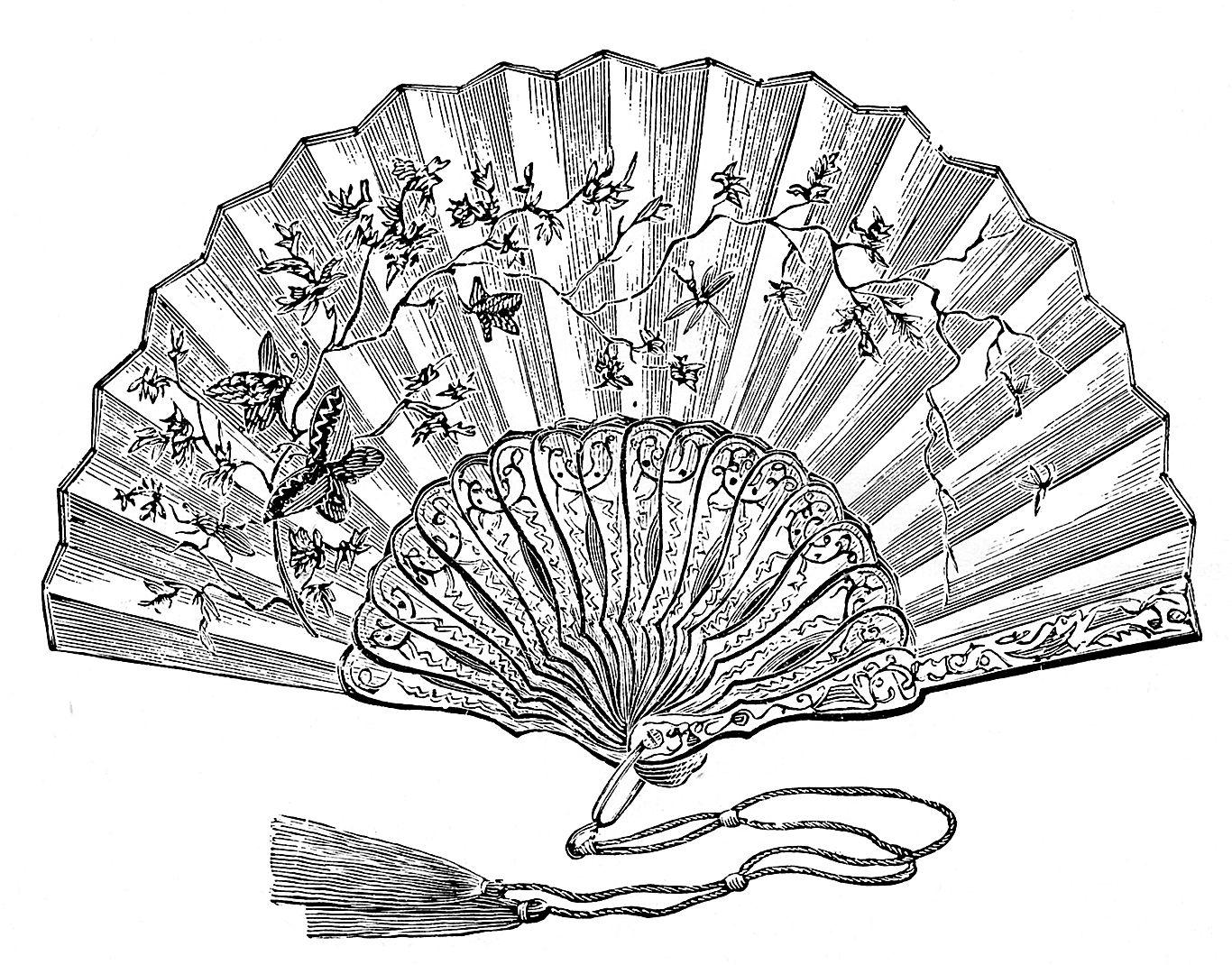 The Graphics Fairy Llc Vintage Clip Art Ladies Fans Clip Art Vintage Hand Held Fan Hand Fan