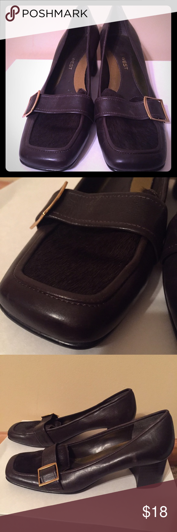 Nine West work shoes with faux hair detailing Nine West work shoes with faux hair detailing on toes. Size 7. Brown. Few scuffs, but only worn a couple times. Nine West Shoes Heels