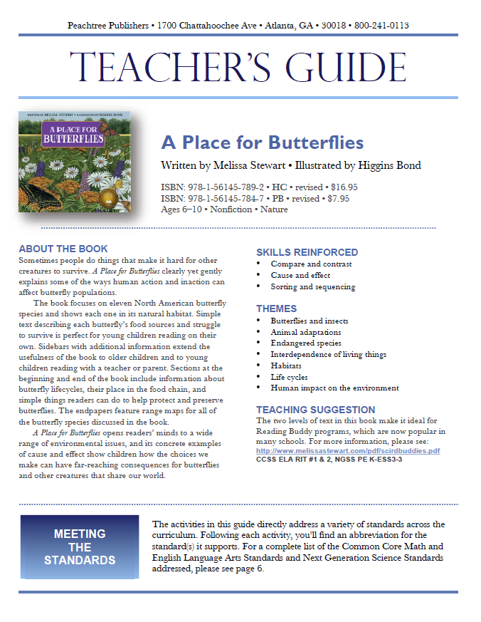 Teacher's Guide to accompany this book: http://peachtree-online.com/files/private/books/251/teachers-guides/PlaceforButterfliesTG.pdf