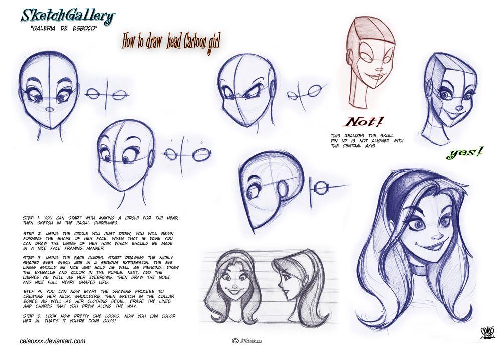 How To Draw Head Cartoon Girl By Celaoxxx On Deviantart Disney Style Drawing Cartoon Drawing Tutorial Cartoon Drawings