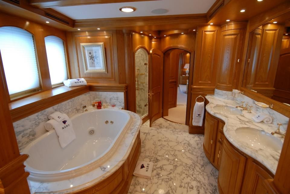 oversized private bathtubs | mega yacht bathroom … | Yacht interior, Luxury yacht ...