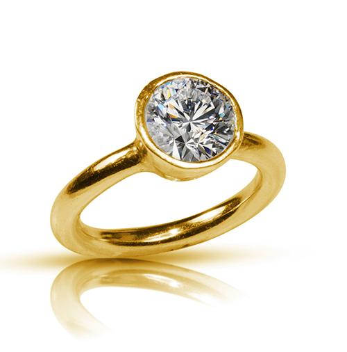 22 Karat Gold Tapered Bezel Diamond Engagement Ring In 2020 Unusual Engagement Rings Unique Diamond Engagement Rings Bezel Diamond Engagement Ring