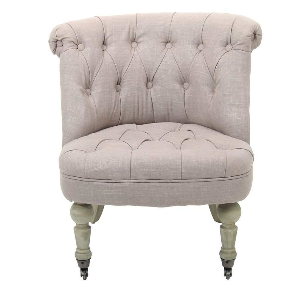 Wing Back Feature Chair With Studs   Beige   71x64cm by ...