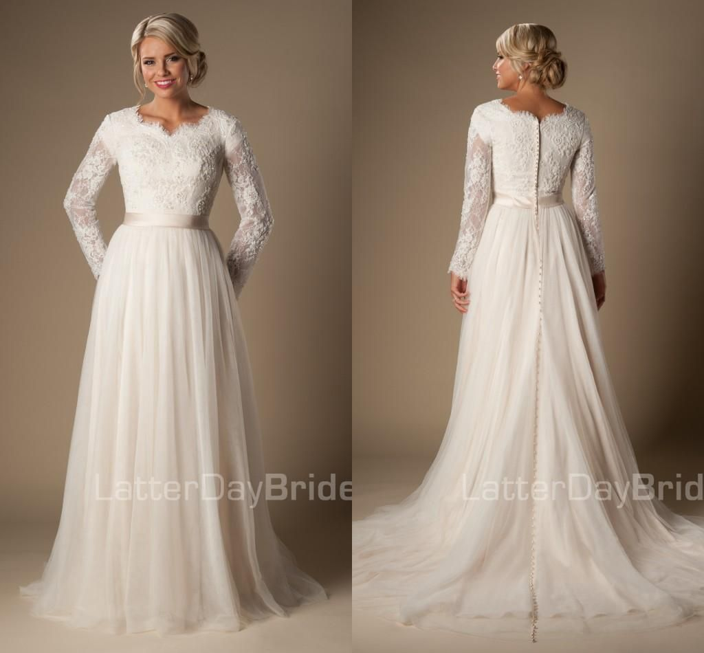 Sheer long sleeve wedding dress   Informal Long ALine Lace Tulle Modest Temple Wedding Dresses