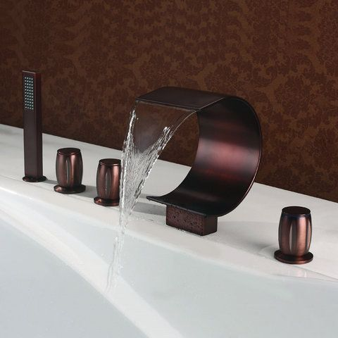 aceite-frotado bronce grifo de la bañera cascada generalizada con ...