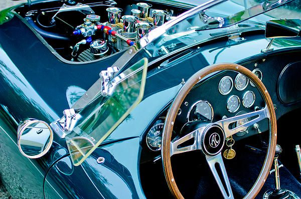 Ac Shelby Cobra Engine Steering Wheel By Jill Reger Classic Cars Classic Amazing Cars