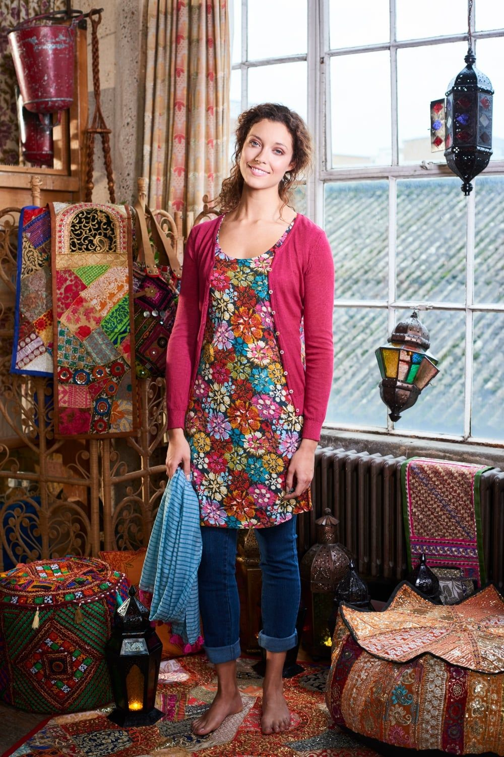 Womens Indian Floral Tunic Multi | Mistral