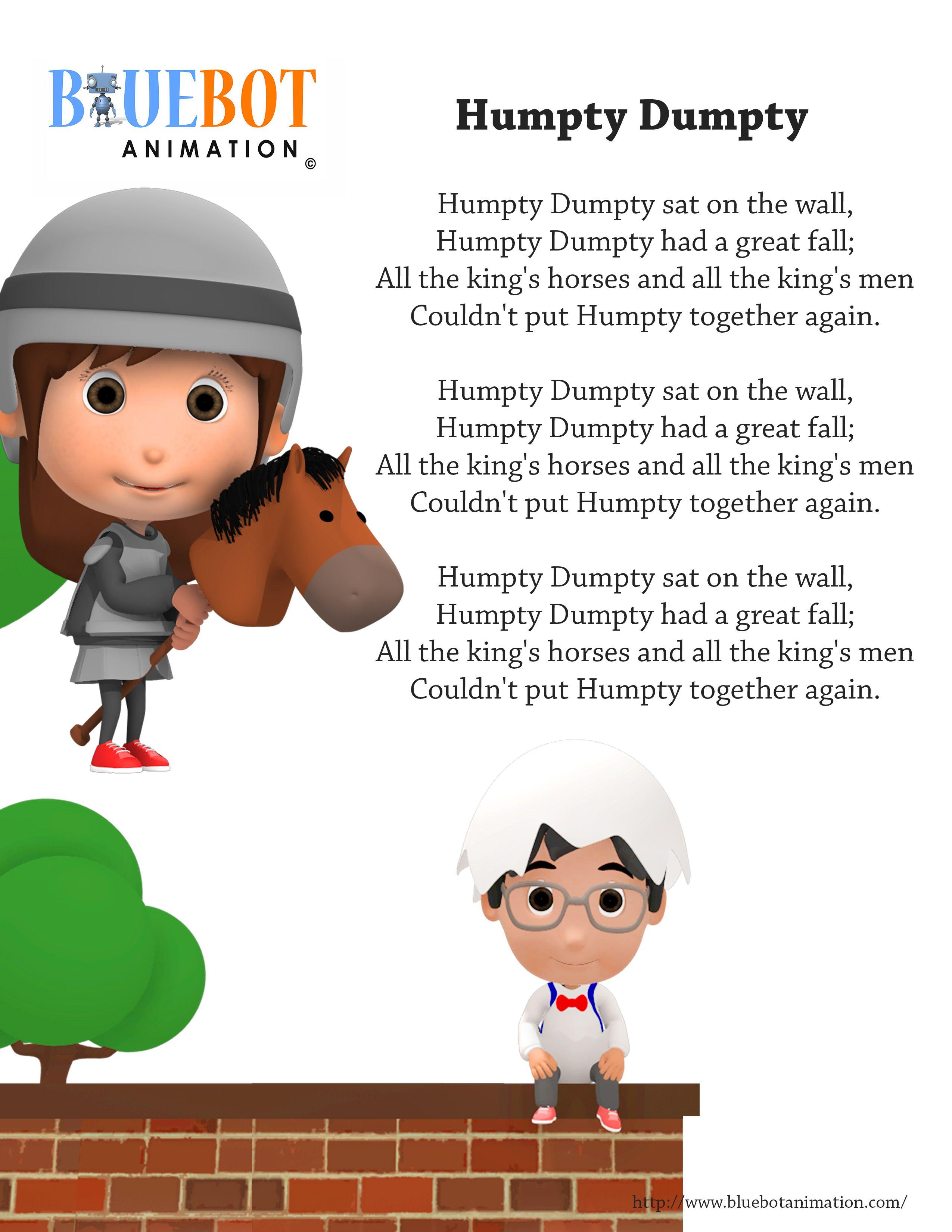 Humpty Dumpty Sat On The Wall Nursery Rhyme Lyrics Free Printable Nursery Rhyme Lyrics Page
