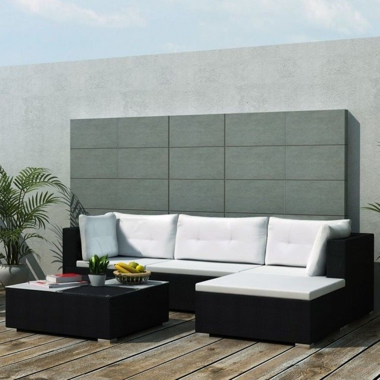 Black Rattan Garden Sofa Set Corner Lounge Glass Table Outdoor Patio  Furniture