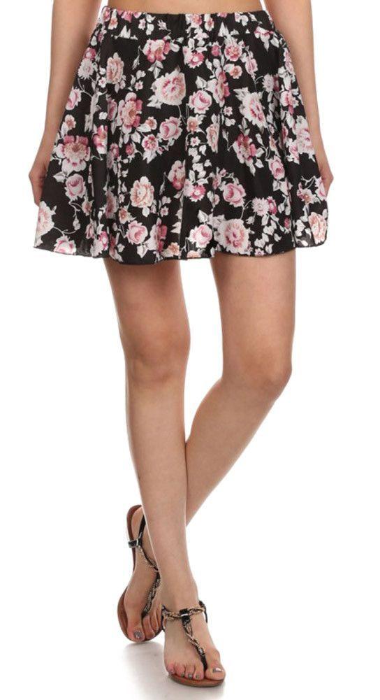 Pink/Black Floral Pleated Mini Skirt