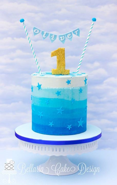 Blue Ombre Buttercream With Images Boys First Birthday Cake