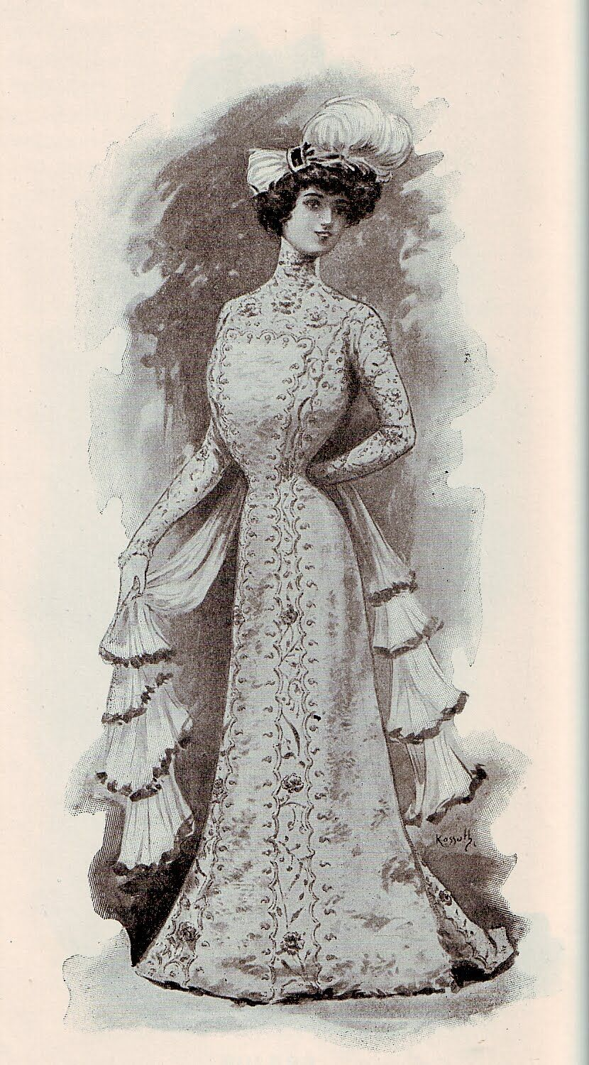 French fashion, White broad-tail fur gown, 1900