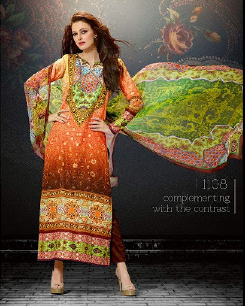 Stutti fashion exclusive multi color straight long suit at rs