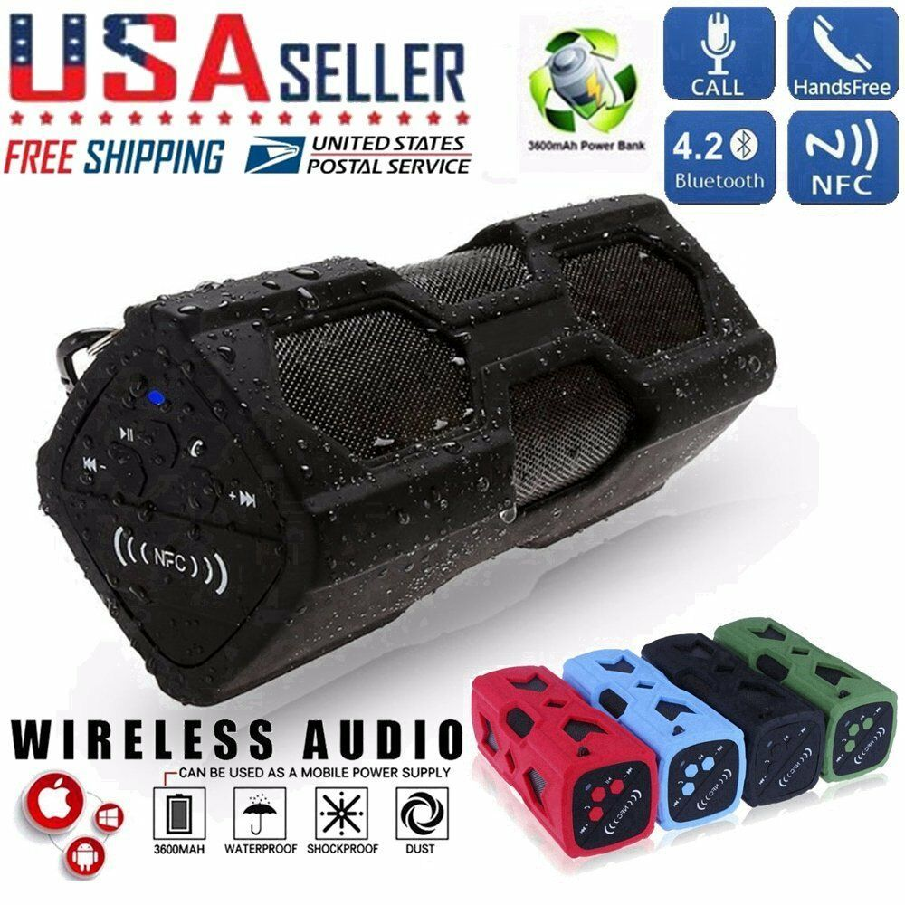 Waterproof Wireless Bluetooth Speaker Aux Nfc Subwoofer Box Battery Power Waterproof Bluetooth Speaker Wireless Speakers Bluetooth Bluetooth Speakers Portable