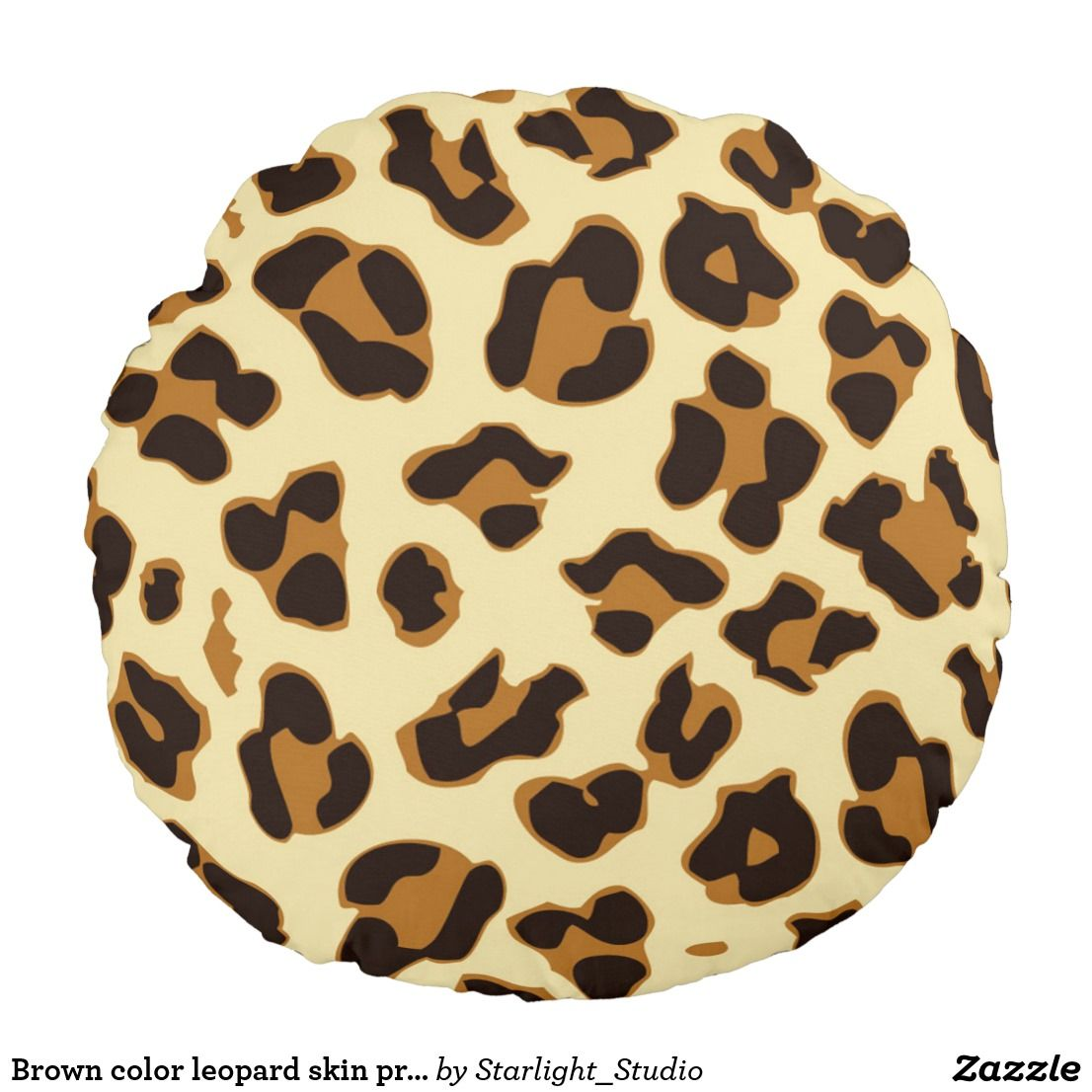 Leopard Print Iphone Wallpaper: Brown Leopard Skin Print Round Pillow