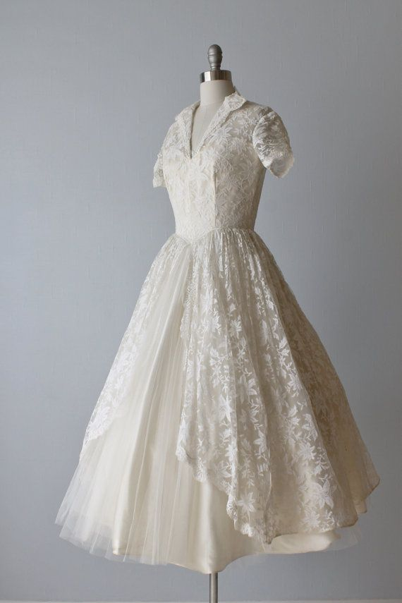 Vintage 1950s Wedding Dress / Tea Length by ...