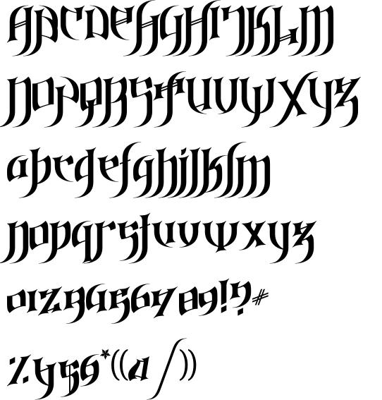 Alphabet different lettering styles graffiti gothic love