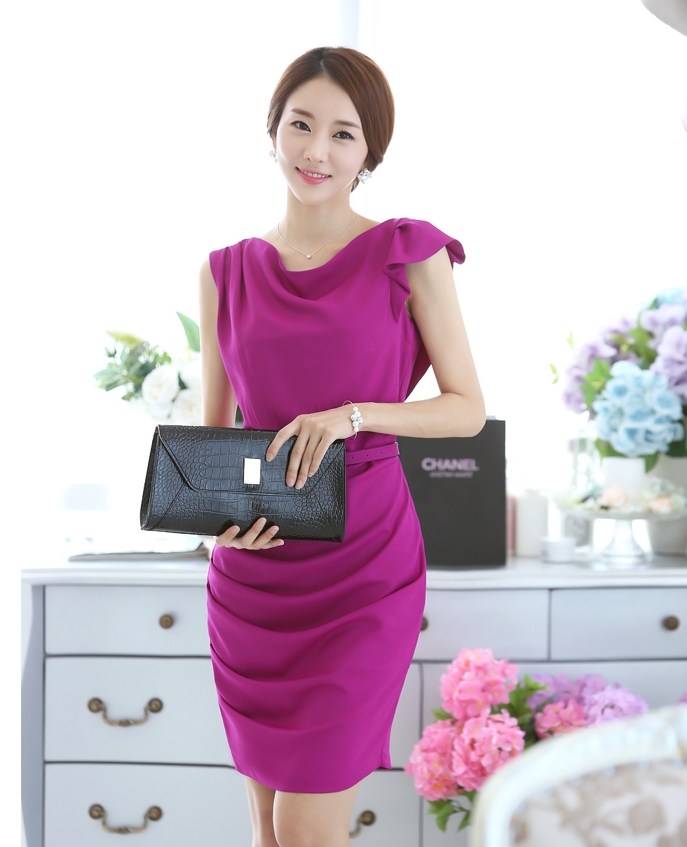 vestido coreano formal, color morado. | Korean Fashion | Pinterest ...