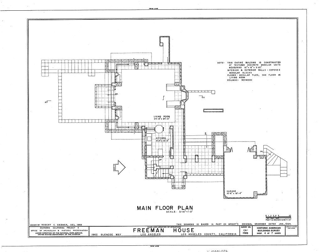 Frank lloyd wright freeman house plan los angeles 1924 Frank lloyd wright house floor plans