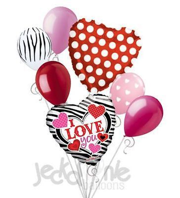7 pc Zebra & Dots Heart Valentines Day Balloon Bouquet Be Mine Hug Kiss Love You