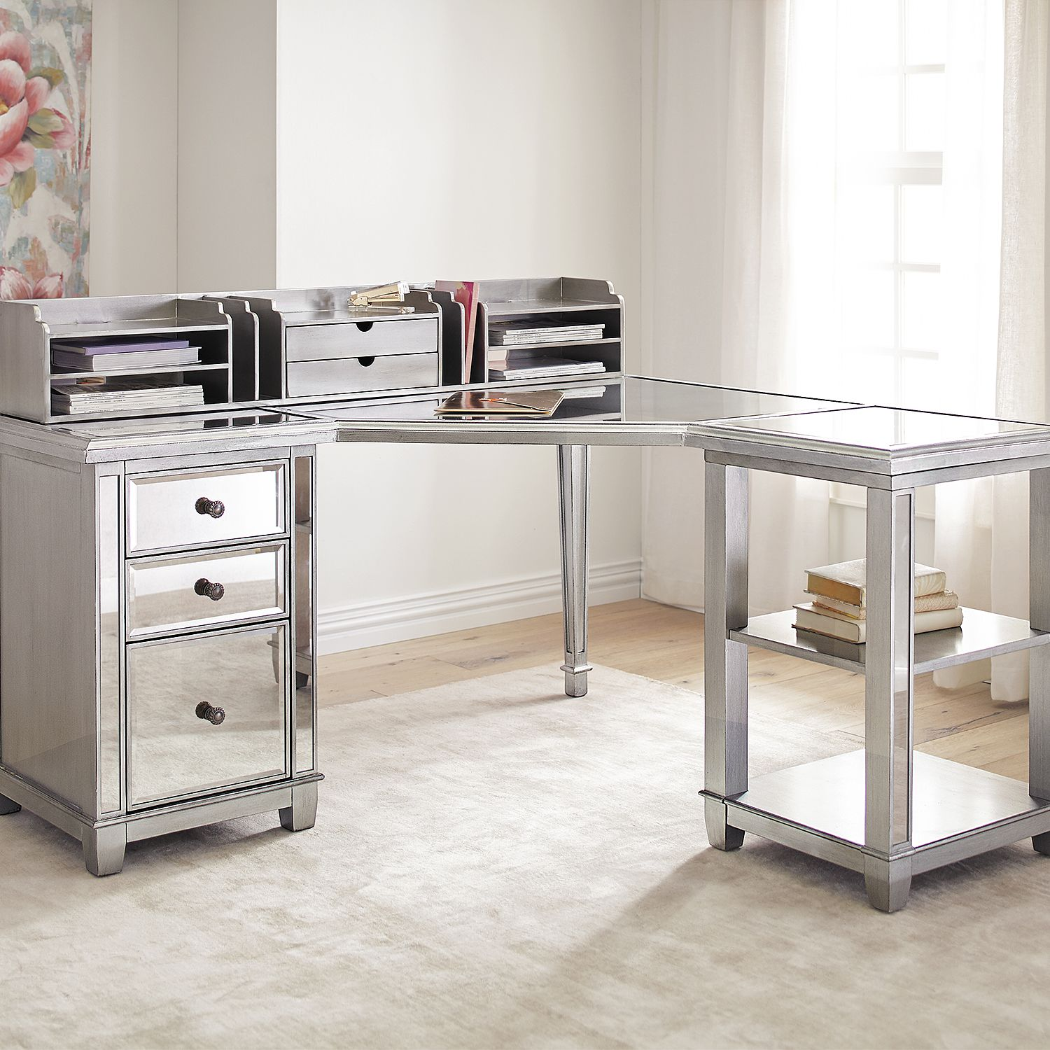 mirrored office furniture. hayworth mirrored corner desk with open shelf u0026 hutch silver office furniture