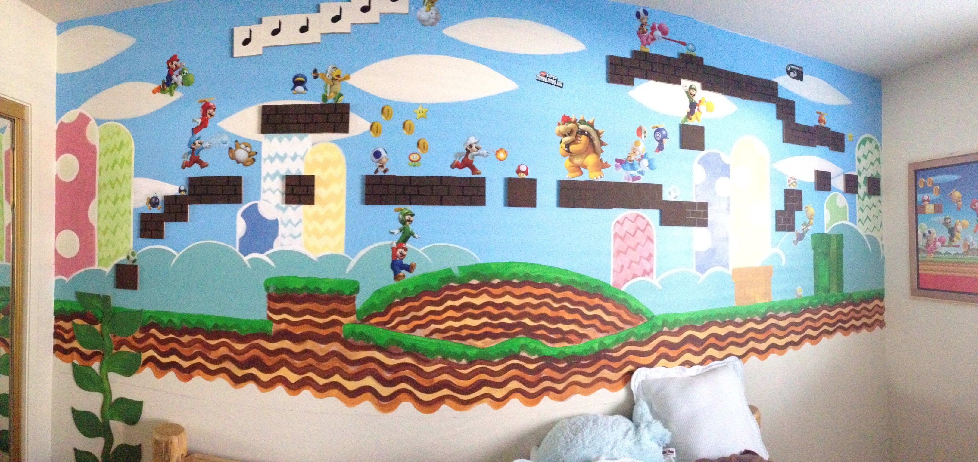 hand painted super mario wall mural for my little gamer