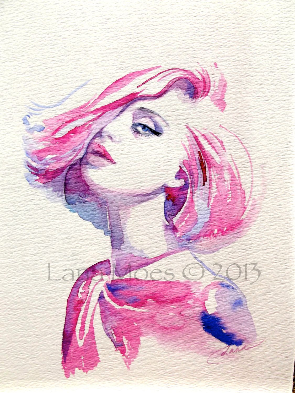 Pink Fashion Art Print From Original Watercolor Illustration By