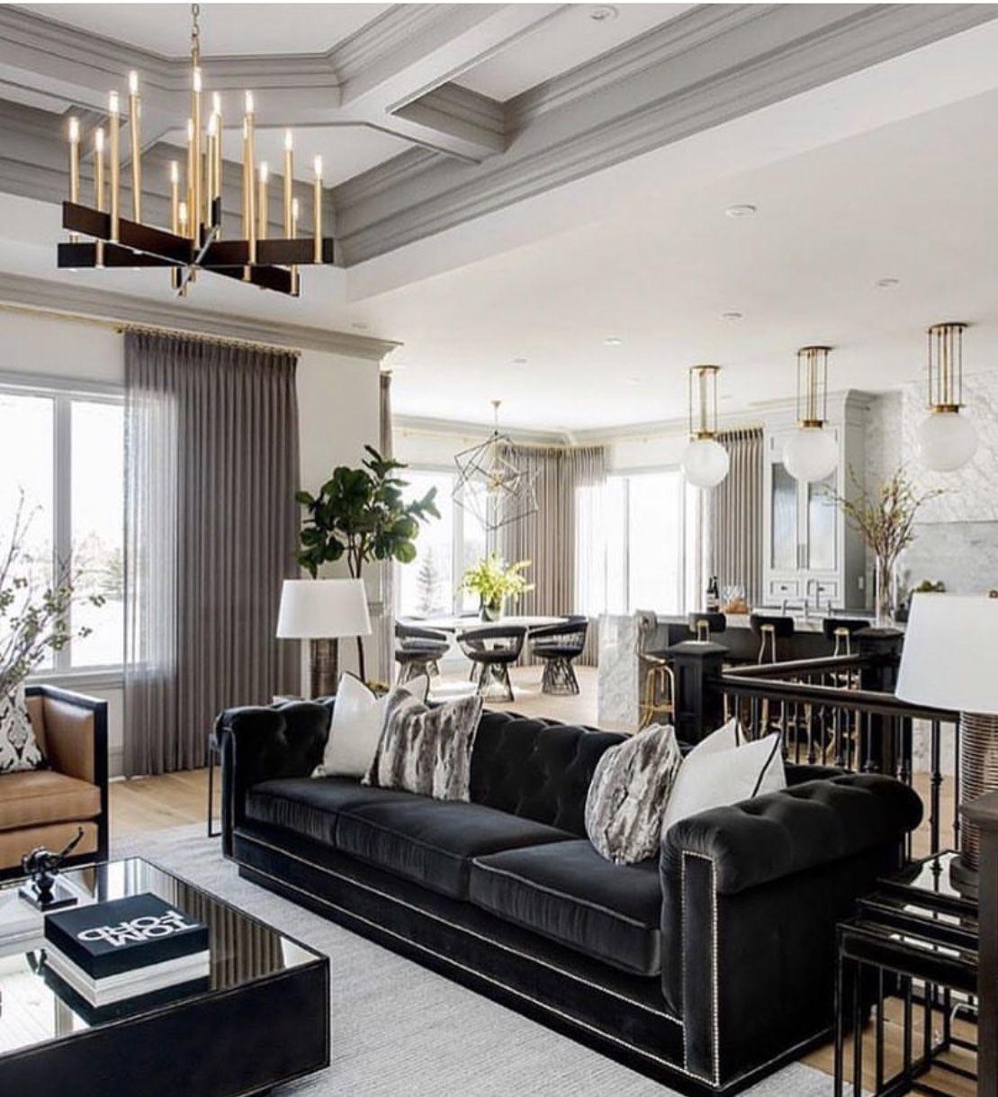 Black Velvet Sofa Chesterfield Artdecostyle Blackandwhite Livingroomdecor Restoratio Interior Design Living Room Living Room Interior Living Room Designs