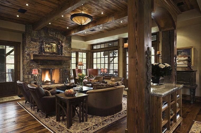 arredamento-soggiorno-stile-rustico-mobili-legno ...