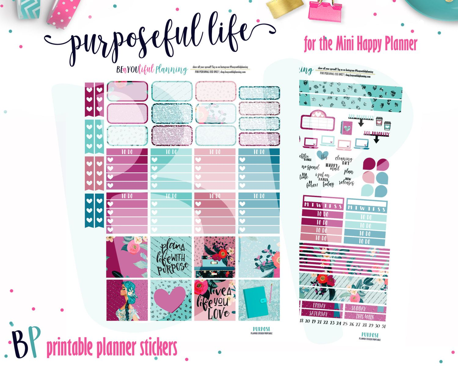 This is a photo of Lucrative Free Mini Happy Planner Printable Inserts