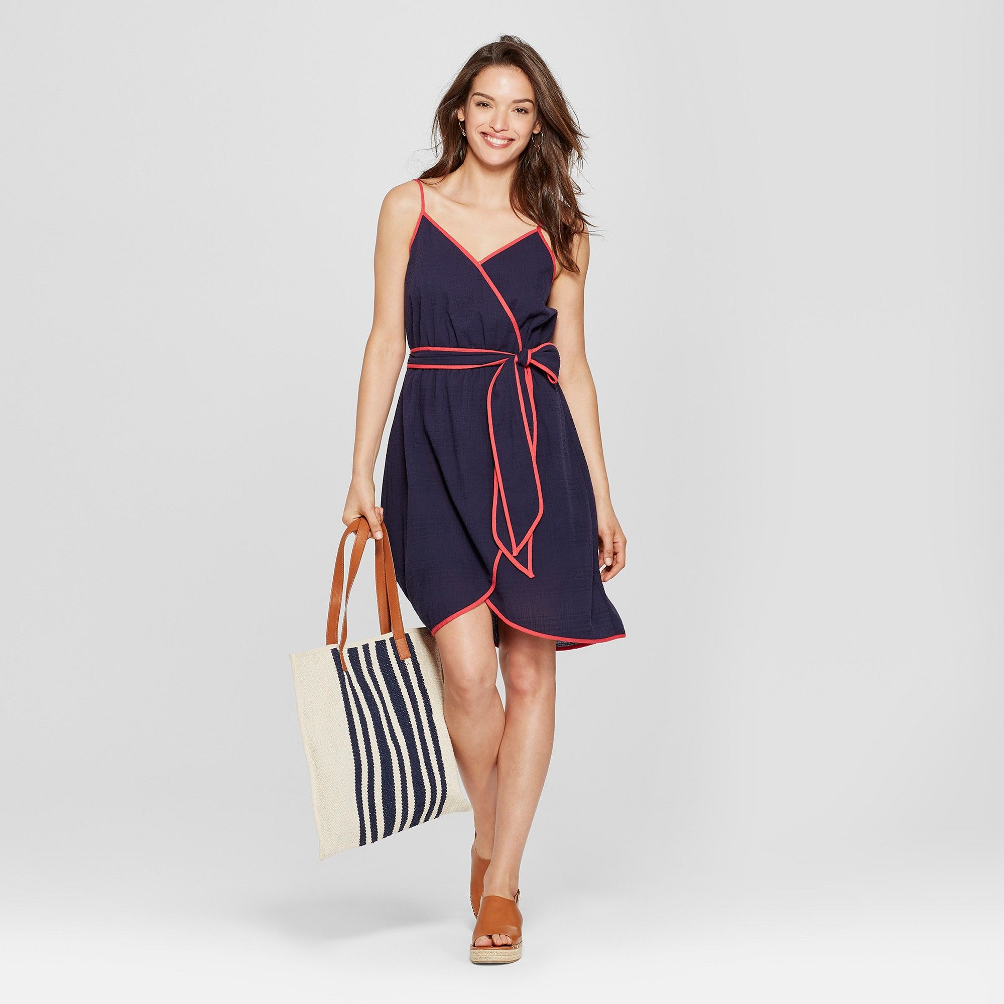 e88f1099e1 Women s Wrap Contrast Piping Dress - Universal Thread Navy Xxl