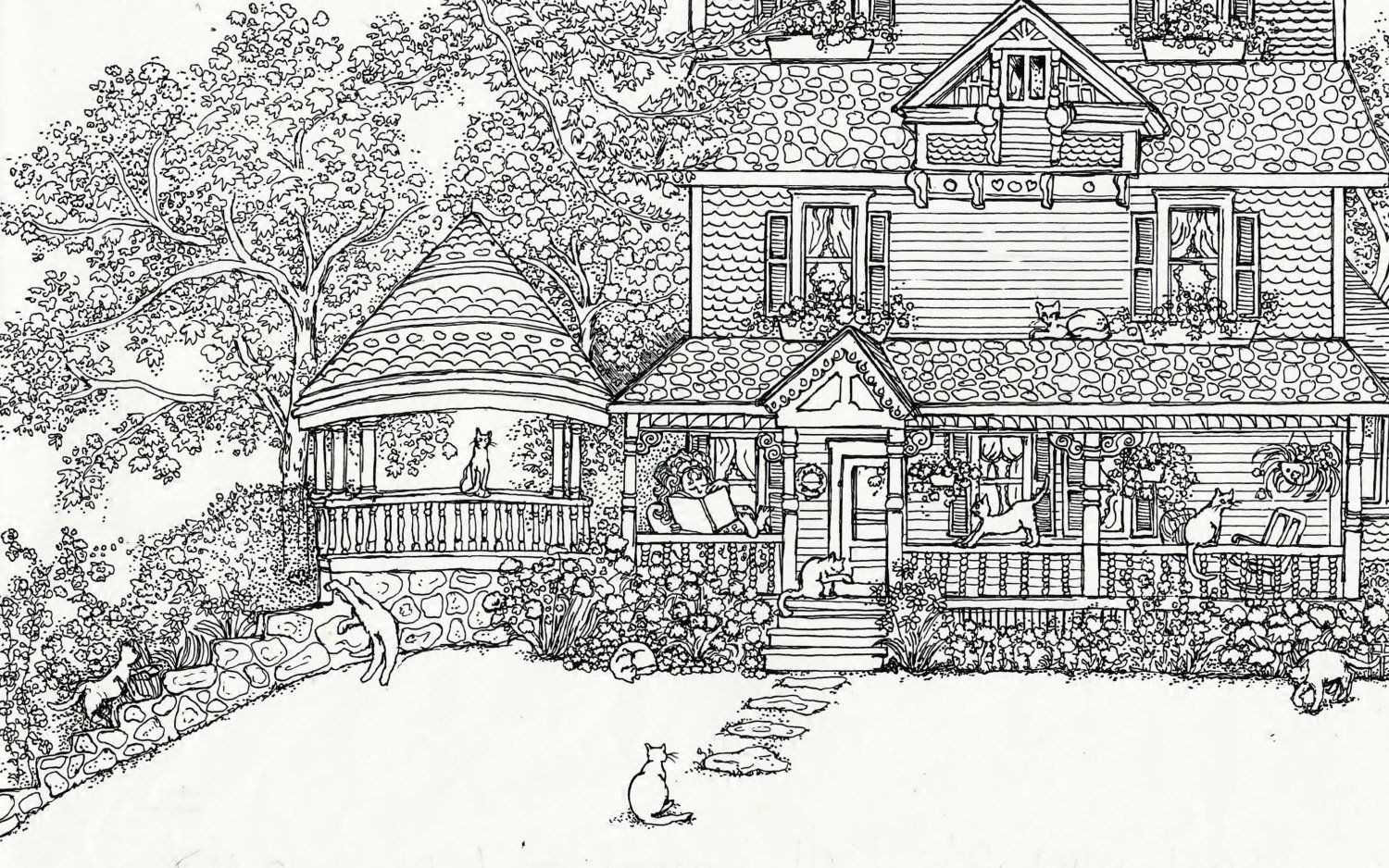Free Printable Coloring Pages For Adults Houses House Colouring
