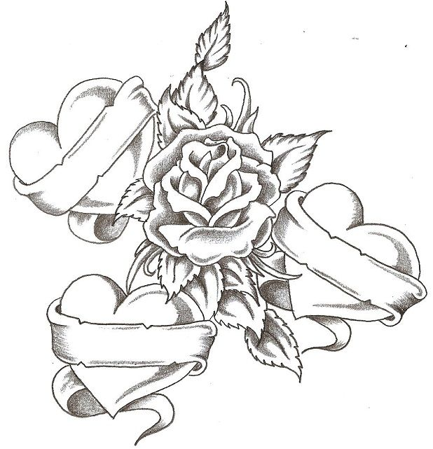 Coloring Pages Flowers And Hearts Heart Coloring Pages Tattoos With Kids Names Pattern Tattoo