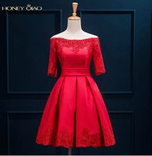 Honey Qiao Real Photo Red Lace Prom dresses Short 2016 With Half sleeves sashes Lace up Back White Bridesmaid Gowns Vestidos //Price: $US $89.10 & FREE Shipping // #bags