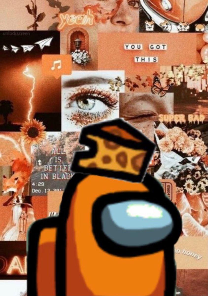 Orange Among Us Background Funny Phone Wallpaper Cute Disney Wallpaper Wallpaper Iphone Cute