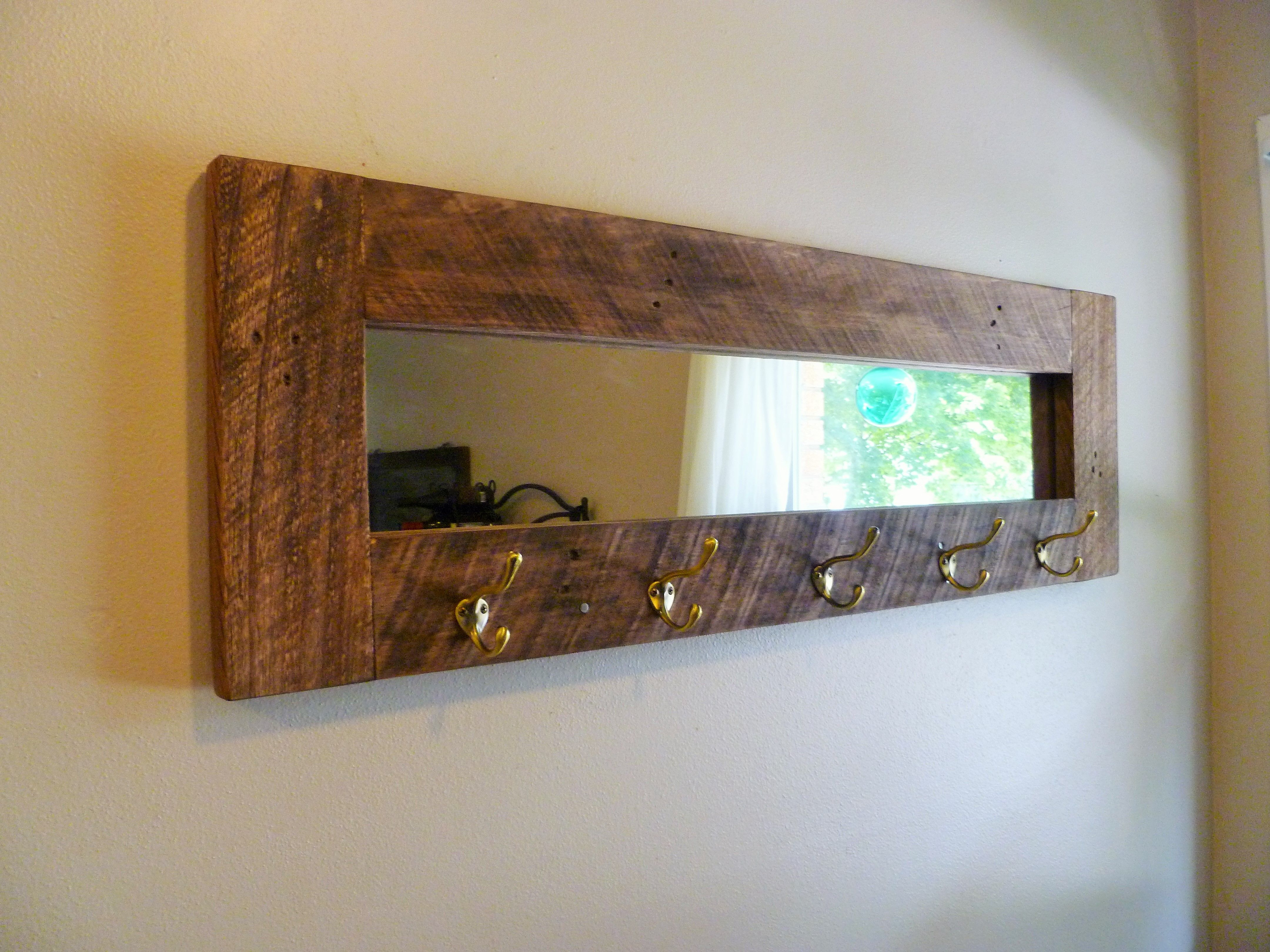 Barn wood mirror/ coat rack we designed for the Summer 2014 ...
