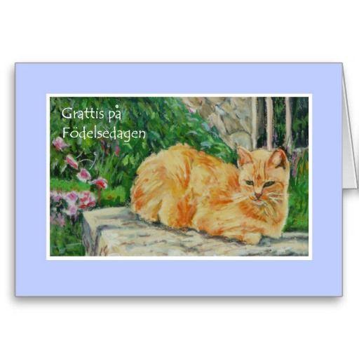 Birthday Card Swedish Greeting Ginger Cat Card Pinterest