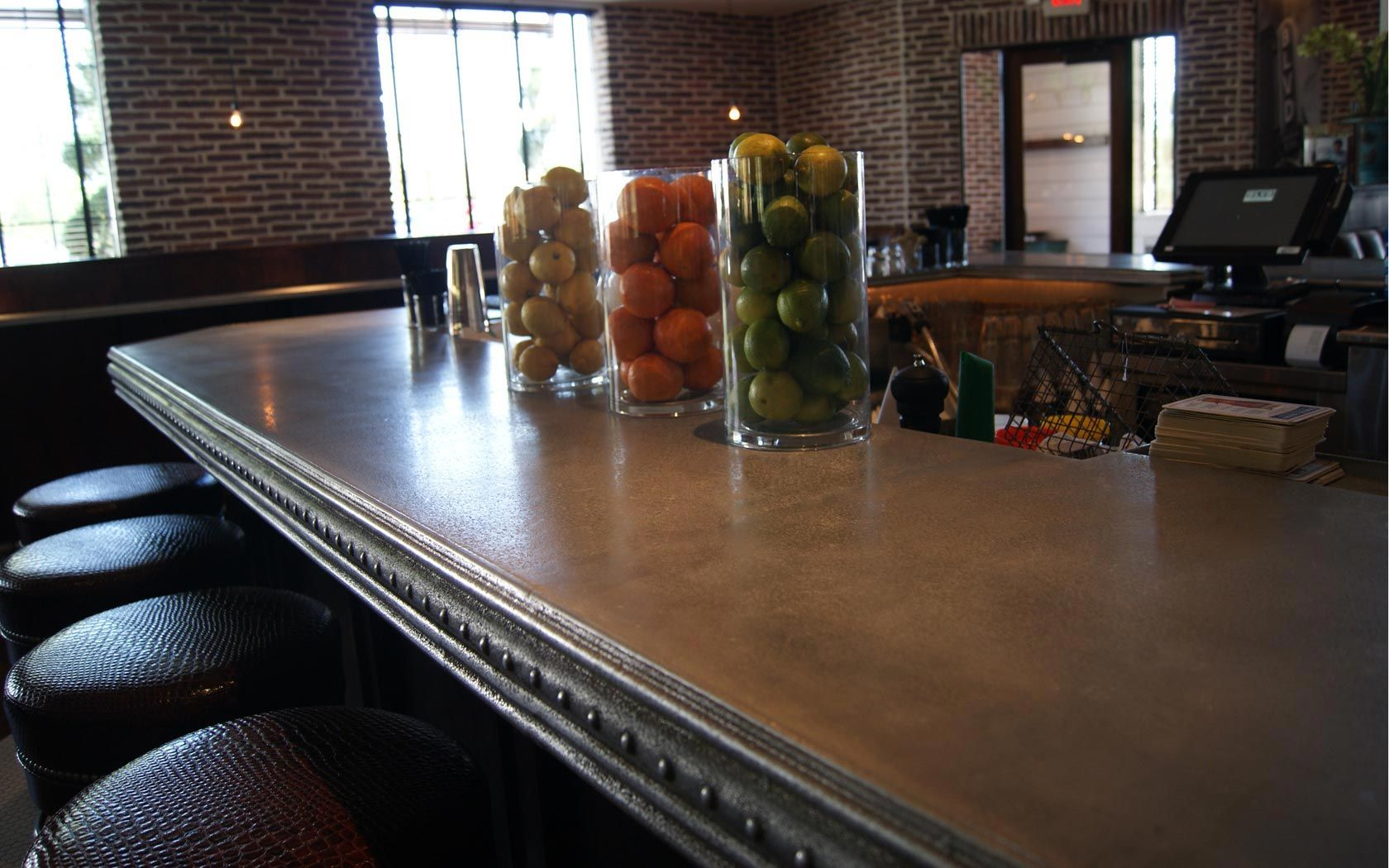 zinc bar top | Zinc countertops, Countertops, Coffee shop