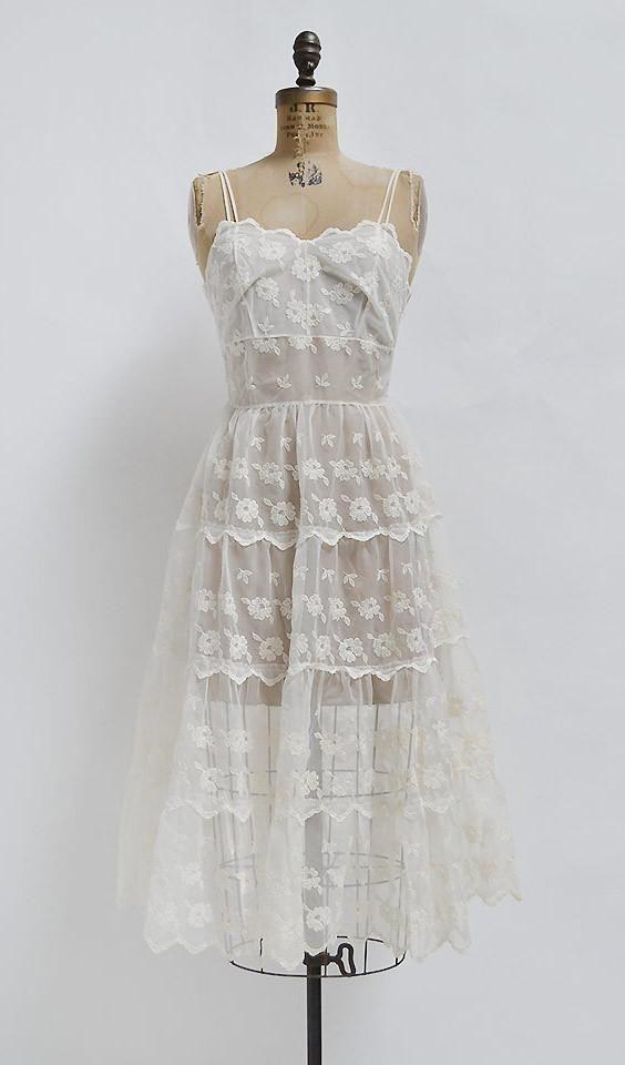 Dear Darling Dress Vintage 1970s Romantic Sheer White Sundress Dresses Darling Dress Vintage Dresses