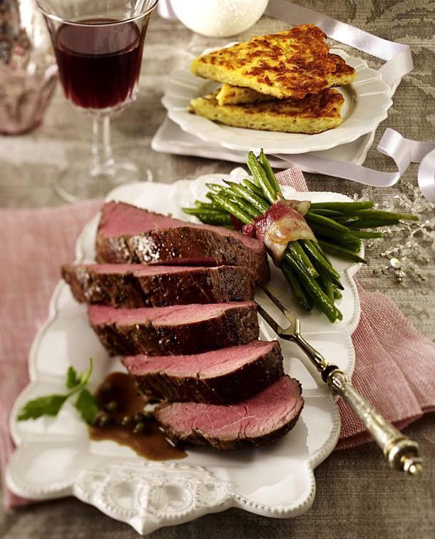 Rinderfilet mit Glühwein-Pfeffersoße zu Bohnen und Rösti #searedsalmonrecipes