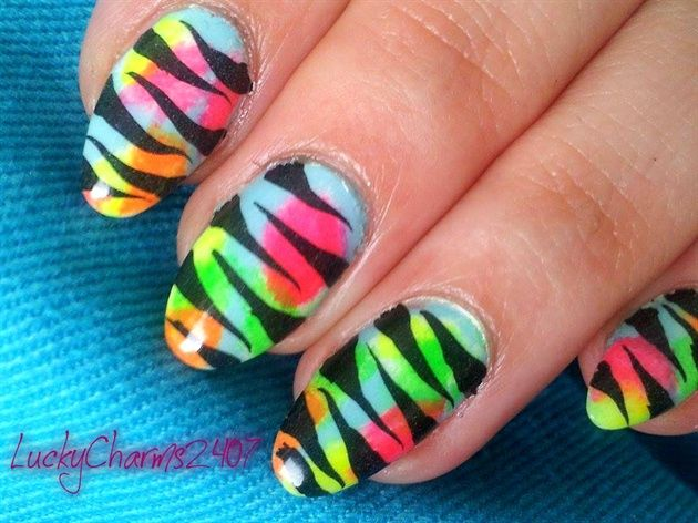 Tiger Stripes And Neon By Luckycharms2407 From Nail Art Gallery
