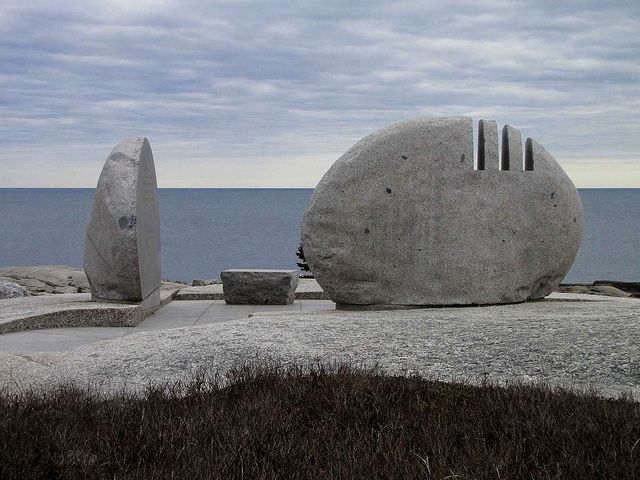 """Sally Van Natta, Swiss Air Flight 111 Memorial, NS. """"This simple and beautiful memorial marks the area where Swiss Air Flight 111 went down in September of 1998. One of the nicest examples of memorial art I have seen."""" Caption at link"""