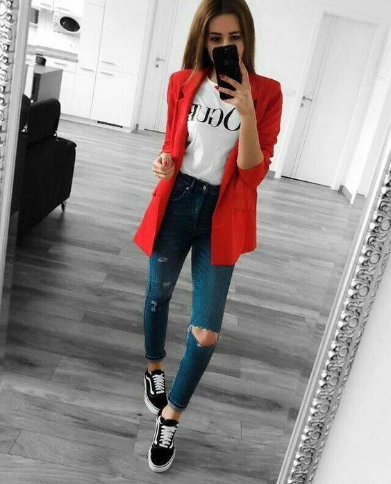 10 Looks Vans Old Skool Pra Inspirar | Blazer outfits casual