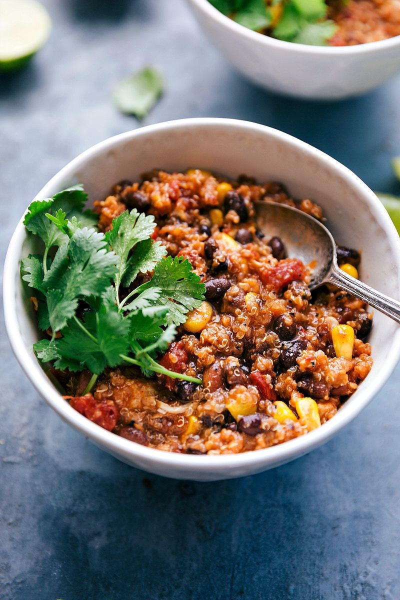 The best ever crockpot quinoa chili. No veggie chopping or pre-cooking of anything required; open c