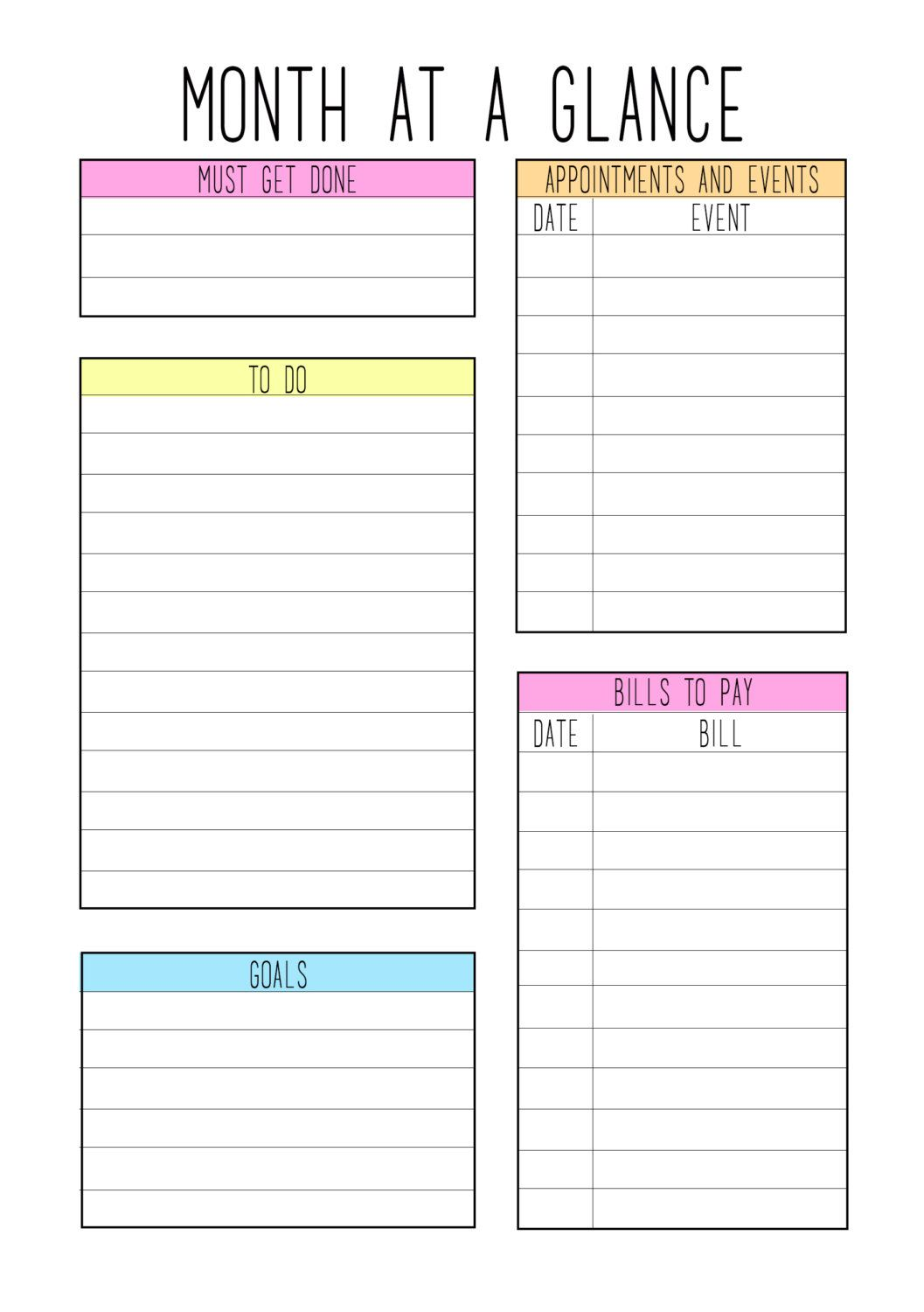 A5 Month At A Glance Color Theme Planner Pages Printable Planner Pages Blank Calendar Template