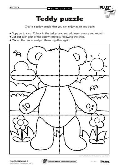 Teddy Puzzle Free Early Years Teaching Resource Teddy Bear Crafts Teddy Bear Day Bear Crafts