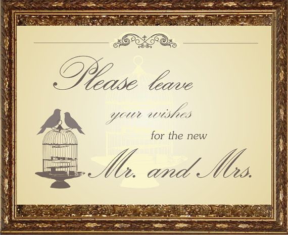 Printable wedding sign wedding clip art vintage birds and by Oxee, $5.00