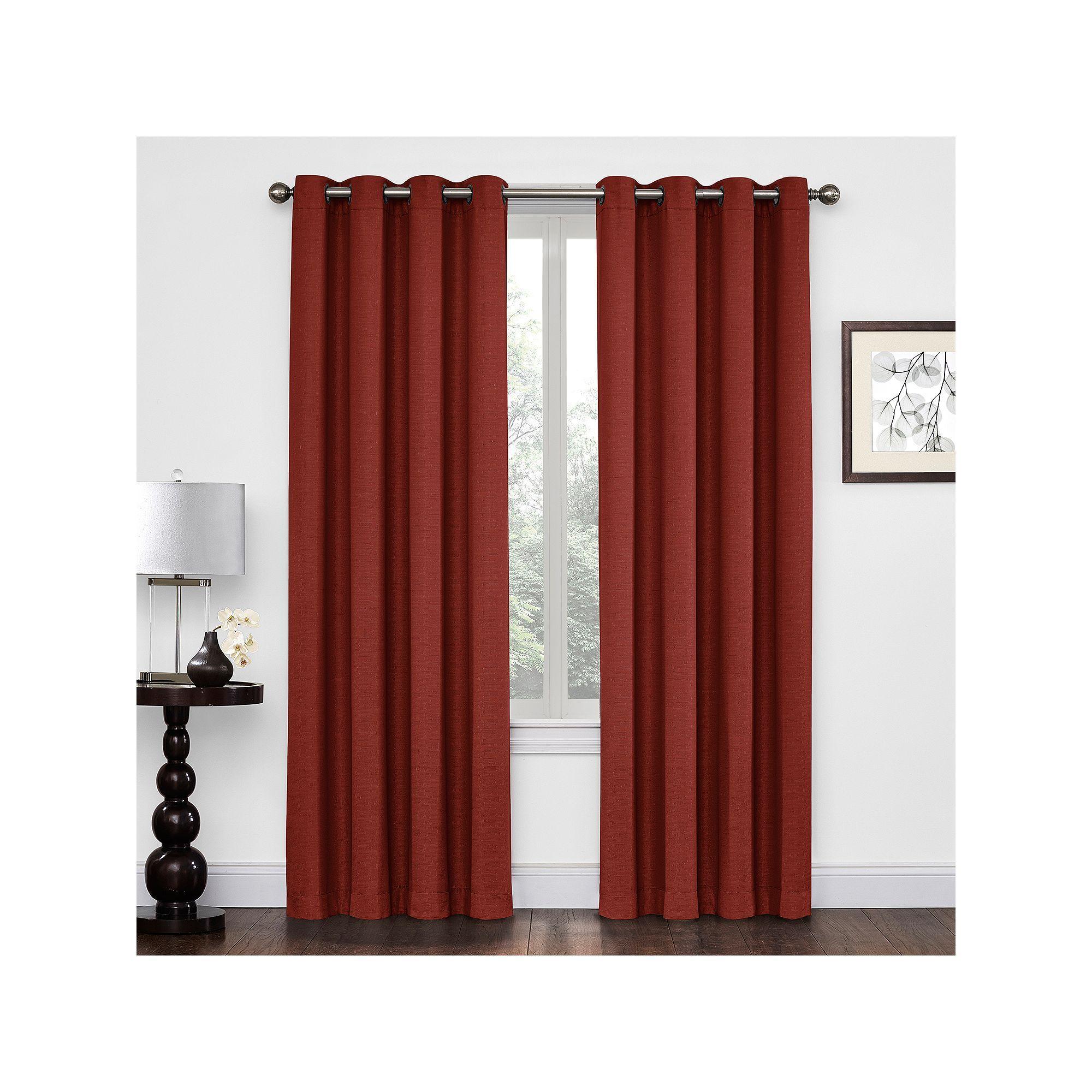 Regent Court Textured Solid Curtain Dark Red