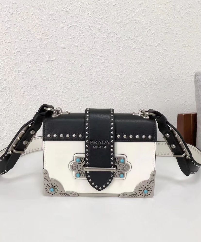 528e7b66f06799 Replica Prada cahier studded calf leather bag 1BD045 White #6852 2 ...