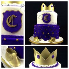 Blue Gold Royal Baby Shower Candy Buffet Crown Pillow Cake .